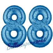 Zahl 88 Blau, Luftballons aus Folie zum 88. Geburtstag, 100 cm, inklusive Helium