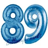Zahl 89 Blau, Luftballons aus Folie zum 89. Geburtstag, 100 cm, inklusive Helium