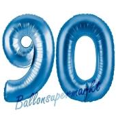 Zahl 90, Blau, Luftballons aus Folie zum 90. Geburtstag