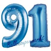 Zahl 91 Blau, Luftballons aus Folie zum 91. Geburtstag, 100 cm, inklusive Helium