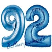 Zahl 92 Blau, Luftballons aus Folie zum 92. Geburtstag, 100 cm, inklusive Helium