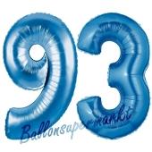Zahl 93 Blau, Luftballons aus Folie zum 93. Geburtstag, 100 cm, inklusive Helium