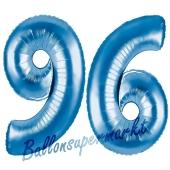 Zahl 96 Blau, Luftballons aus Folie zum 96. Geburtstag, 100 cm, inklusive Helium