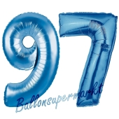 Zahl 97 Blau, Luftballons aus Folie zum 97. Geburtstag, 100 cm, inklusive Helium