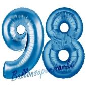 Zahl 98 Blau, Luftballons aus Folie zum 98. Geburtstag, 100 cm, inklusive Helium