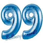 Zahl 99 Blau, Luftballons aus Folie zum 99. Geburtstag, 100 cm, inklusive Helium