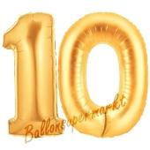 Zahl 10 Gold, Luftballons aus Folie zum 10. Geburtstag, 100 cm, inklusive Helium
