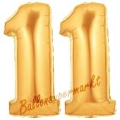 Zahl 11 Gold, Luftballons aus Folie zum 11. Geburtstag, 100 cm, inklusive Helium