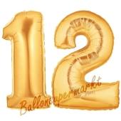 Zahl 12 Gold, Luftballons aus Folie zum 12 Geburtstag, 100 cm, inklusive Helium