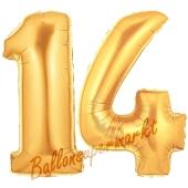 Zahl 14 Gold, Luftballons aus Folie zum 14 Geburtstag, 100 cm, inklusive Helium