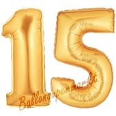 Zahl 15 Gold, Luftballons aus Folie zum 15. Geburtstag, 100 cm, inklusive Helium