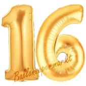 Zahl 16, Gold, Luftballons aus Folie zum 16. Geburtstag, 100 cm, inklusive Helium