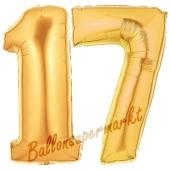 Zahl 17 Gold, Luftballons aus Folie zum 17. Geburtstag, 100 cm, inklusive Helium