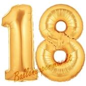 Zahl 18, Gold, Luftballons aus Folie zum 18. Geburtstag, 100 cm, inklusive Helium