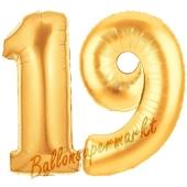 Zahl 19 Gold, Luftballons aus Folie zum 19. Geburtstag, 100 cm, inklusive Helium