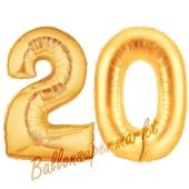 Zahl 20 Gold, Luftballons aus Folie zum 20. Geburtstag, 100 cm, inklusive Helium