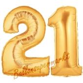 Zahl 21 Gold, Luftballons aus Folie zum 21. Geburtstag, 100 cm, inklusive Helium