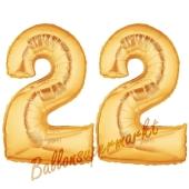Zahl 22 Gold, Luftballons aus Folie zum 22. Geburtstag, 100 cm, inklusive Helium