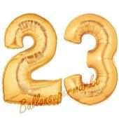Zahl 23 Gold, Luftballons aus Folie zum 23. Geburtstag, 100 cm, inklusive Helium