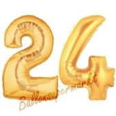 Zahl 24 Gold, Luftballons aus Folie zum 24. Geburtstag, 100 cm, inklusive Helium