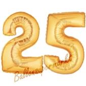 Zahl 25 Gold, Luftballons aus Folie zum 25. Geburtstag, 100 cm, inklusive Helium