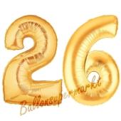 Zahl 26, Gold, Luftballons aus Folie zum 26. Geburtstag, 100 cm, inklusive Helium