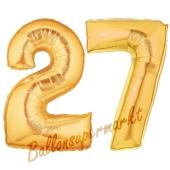 Zahl 27, Gold, Luftballons aus Folie zum 27. Geburtstag, 100 cm, inklusive Helium