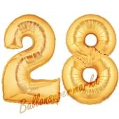 Zahl 28, Gold, Luftballons aus Folie zum 28. Geburtstag, 100 cm, inklusive Helium
