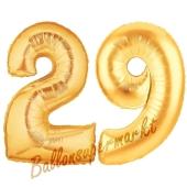 Zahl 29, Gold, Luftballons aus Folie zum 29. Geburtstag, 100 cm, inklusive Helium