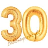Zahl 30, Gold, Luftballons aus Folie zum 30. Geburtstag, 100 cm, inklusive Helium