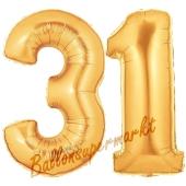 Zahl 31, Gold, Luftballons aus Folie zum 31. Geburtstag, 100 cm, inklusive Helium