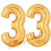 Zahl 33, Gold, Luftballons aus Folie zum 33. Geburtstag, 100 cm, inklusive Helium