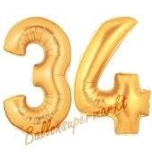 Zahl 34, Gold, Luftballons aus Folie zum 34. Geburtstag, 100 cm, inklusive Helium