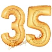 Zahl 35, Gold, Luftballons aus Folie zum 35. Geburtstag, 100 cm, inklusive Helium