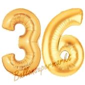 Zahl 36, Gold, Luftballons aus Folie zum 36. Geburtstag, 100 cm, inklusive Helium