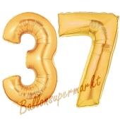 Zahl 37, Gold, Luftballons aus Folie zum 37. Geburtstag, 100 cm, inklusive Helium