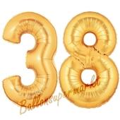 Zahl 38, Gold, Luftballons aus Folie zum 38. Geburtstag, 100 cm, inklusive Helium