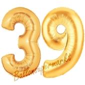 Zahl 39, Gold, Luftballons aus Folie zum 39. Geburtstag, 100 cm, inklusive Helium