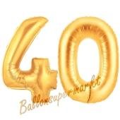 Zahl 40, Gold, Luftballons aus Folie zum 40. Geburtstag
