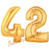 Zahl 42, Gold, Luftballons aus Folie zum 42. Geburtstag, 100 cm, inklusive Helium