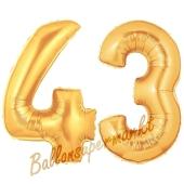 Zahl 43, Gold, Luftballons aus Folie zum 43. Geburtstag, 100 cm, inklusive Helium