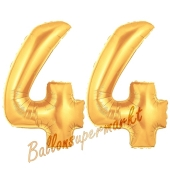 Zahl 44, Gold, Luftballons aus Folie zum 44. Geburtstag, 100 cm, inklusive Helium