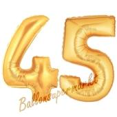 Zahl 45, Gold, Luftballons aus Folie zum 45. Geburtstag, 100 cm, inklusive Helium