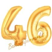 Zahl 46, Gold, Luftballons aus Folie zum 46. Geburtstag, 100 cm, inklusive Helium