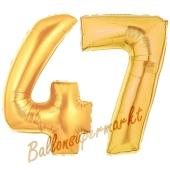 Zahl 47, Gold, Luftballons aus Folie zum 47. Geburtstag, 100 cm, inklusive Helium