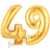Zahl 49, Gold, Luftballons aus Folie zum 49. Geburtstag, 100 cm, inklusive Helium