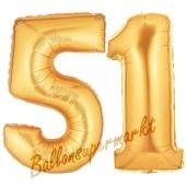 Zahl 51, Gold, Luftballons aus Folie zum 51. Geburtstag, 100 cm, inklusive Helium