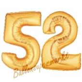 Zahl 52, Gold, Luftballons aus Folie zum 52. Geburtstag, 100 cm, inklusive Helium