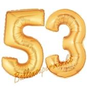 Zahl 53, Gold, Luftballons aus Folie zum 53. Geburtstag, 100 cm, inklusive Helium