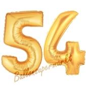 Zahl 54, Gold, Luftballons aus Folie zum 54. Geburtstag, 100 cm, inklusive Helium
